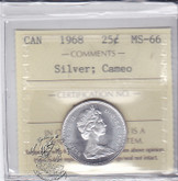 Canada: 1968 Silver 25 Cents ICCS MS66 Cameo Coin