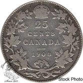 Canada: 1908 25 Cents F12