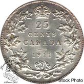 Canada: 1911 25 Cents AU50