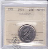 Canada: 1974 25 Cents ICCS MS65 Coin nr 1