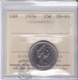 Canada: 1974 25 Cents ICCS MS65 Coin nr 2
