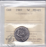 Canada: 1969 5 Cents ICCS MS65 Coin nr 1