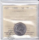 Canada: 1969 5 Cents ICCS MS65 Coin nr 2