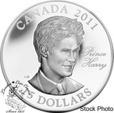 Canada: 2011 $15 Ultra High Relief H.R.H. Prince Henry of Wales (Prince Harry) Sterling Silver Coin