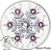 Canada: 2008 $20 Amethyst Crystal Snowflake Silver Coin