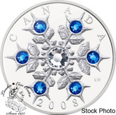 Canada: 2008 $20 Sapphire Crystal Snowflake Silver Coin