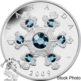 Canada: 2009 $20 Blue Crystal Snowflake Silver Coin