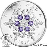 Canada: 2010 $20 Tanzanite Snowflake Silver Coin