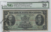 Canada: 1913 $5 Royal Bank of Canada Banknote PMG VF20