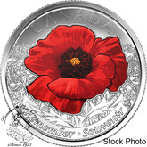 Canada: 2015 25 Cents Poppy Coloured Coin BU