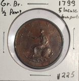 Great Britain: 1799 1/2 Penny George III