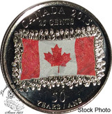 Canada: 2015 Flag 25 Cent Coloured Coin BU