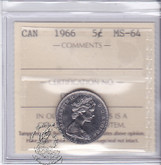 Canada: 1966 5 Cents ICCS MS64 Coin nr 3