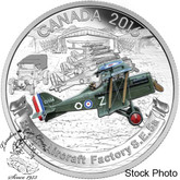Canada: 2016 $20 Aircraft of the First World War Series: The Royal Aircraft Factory S.E. 5A Silver Coin