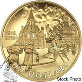 Canada: 2016 $100 Centennial of the Parliament Buildings Fire and the Preservation of the Library of Parliament 14 Karat Gold Coin