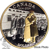 Canada: 2014 $1 100th Anniversary of the Declaration of the First World War Proof Silver Dollar with Gold Plating Coin