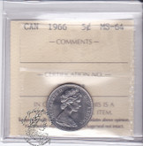 Canada: 1966 5 Cents ICCS MS64 Coin nr 14