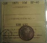 Canada: 1871 10 Cent ICCS EF40