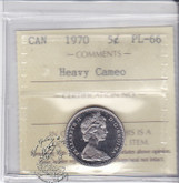 Canada: 1970 5 Cents ICCS PL66 Heavy Cameo Coin nr 1