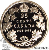 Canada: 1998 25 Cents Commemorative 1908 - 1998 Proof Coin