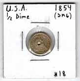 United States: 1854 Half Dime damage