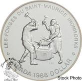 Canada: 1988 $1 Saint-Maurice Ironworks BU Silver Dollar Coin