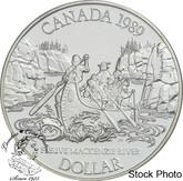 Canada: 1989 $1 Mackenzie River Bicentennial BU Silver Dollar Coin