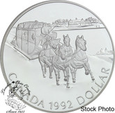 Canada: 1992 $1 Kingston to York Stagecoach Proof Silver Dollar Coin