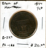 Bank of Montreal: 1844 Half Penny PC-1B6