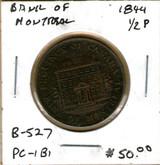 Bank of Montreal: 1844 Half Penny PC-1B1 #2