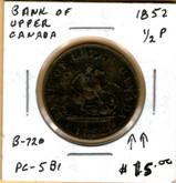 Bank of Upper Canada: 1852 Half Penny PC-5B1 #2