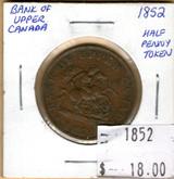 Bank of Upper Canada: 1852 Half Penny #2