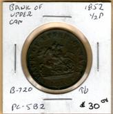 Bank of Upper Canada: 1852 Half Penny #3