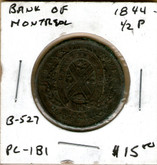 Bank of Montreal: 1844 Half Penny PC-1B1 #5b