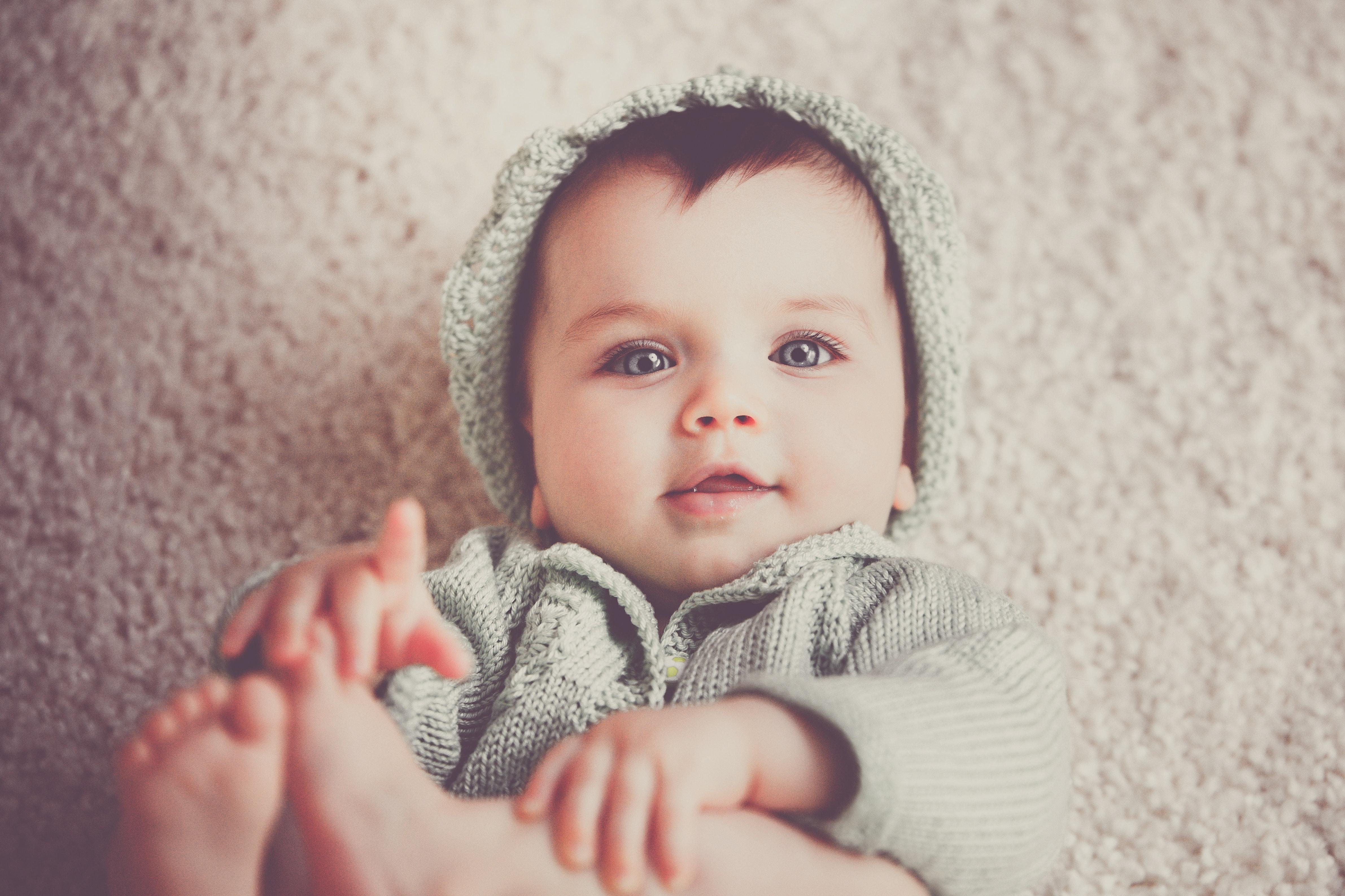 Baby staring at camera