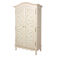 French Armoire Finish: Linen Trim Out: Pink and Green Hand Painted Motif: Floral Buds Knobs: Glass Knobs with Gold Base