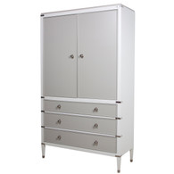 Gramercy Armoire Body Finish: Snow Drawer, Door and Top Finish: Dior Gray Chest Straps: Polish Nickel Toe Caps: Polish Nickel Upgraded Knobs: Polish Nickel I