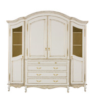Grand Four Piece Breakfront Finish: Versailles Creme Door Option: Brass Wire Mesh Knobs: Upgraded Brass Tassel #1, Brass Knob #1 and Marie Pulls