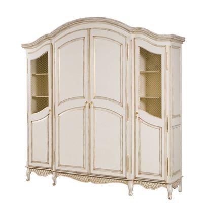 Grand Three Piece Breakfront Finish: Versailles Creme Door Option: Brass Wire Mesh Upgraded Knobs: Brass Tassel I