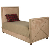 Harrison Bed Bed Size: Twin with Trundle Fabric: AFK Arizona Khaki Nail Heads: Polished Brass Feet Finish: French Walnut