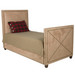 Bed Size: Twin with Additional Trundle Fabric: AFK Arizona Khaki Nail Heads: Antique Brass Feet Finish: French Walnut