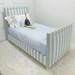 Bed Size: Twin Fabric: Jasper Blue and White Stripe Nail Heads: Polished Brass Feet Finish: Whisper White