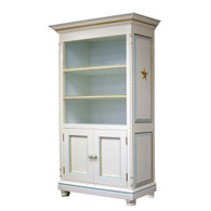 Evan Bookcase Finish: Linen / Blue Interior Trim Out: Blue / Gold Gilding Appliquéd Moulding: Star in Gold Golding Knobs: Wood Knobs in Blue / Gold Gilding