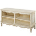 French Double Bookcase Hand Painted Motif: Bordeaux Toile Finish: Tea Stain over Antico White