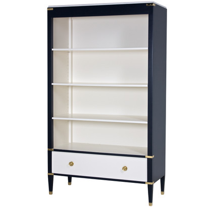 Gramercy Bookcase Body Finish: Navy Drawer, Top, Interior Back, Sides and Shelves: Linen Chest Straps: Polish Brass Toe Caps: Polish Brass Knobs: Standard Polish Brass #6