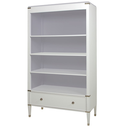 Gramercy Bookcase Body Finish: Snow Drawer, Top, Interior Back, Sides and Shelves: Dior Gray Chest Straps: Polished Nickel Toe Caps: Polished Nickel Upgraded Knobs: Polished Nickel Knob #1