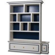 McGaw Bookcase Body Finish: Linen Accent Color: Navy Accent Knobs: Polish Brass #6