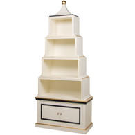Pagoda Bookcase Finish: Antico White Trim Out: Navy and Gold Gilding Knobs: Glass Knobs with Gold Base