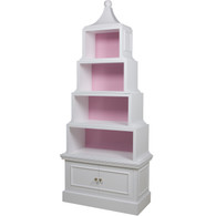 Pagoda Bookcase Finish: Antico White Interior Back Finish: Custom Pink Knobs: Glass Knobs with Gold Base