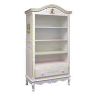 Tall French Bookcase Finish: Antico White on Gray Crackle Hand Painted Motif: Enchanted Forest Knobs: Wood